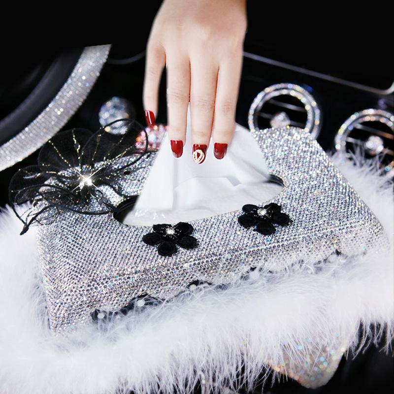 车载车用带钻纸巾盒套漂亮汽车镶钻抽纸盒水晶钻车载摆件装饰用品