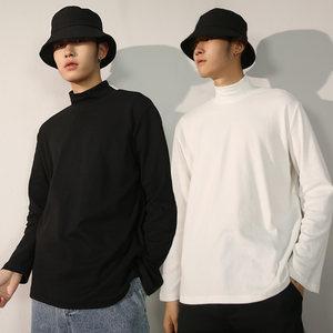 半高領長袖T恤男寬松秋冬季衛衣加絨白色黑色打底衫內搭潮上衣服
