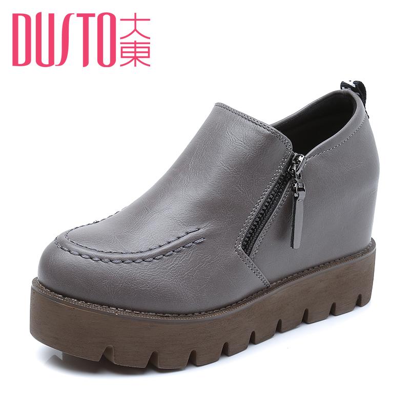 大東2016 厚底內增高鬆糕鞋英倫風女鞋防水台高跟坡跟單鞋