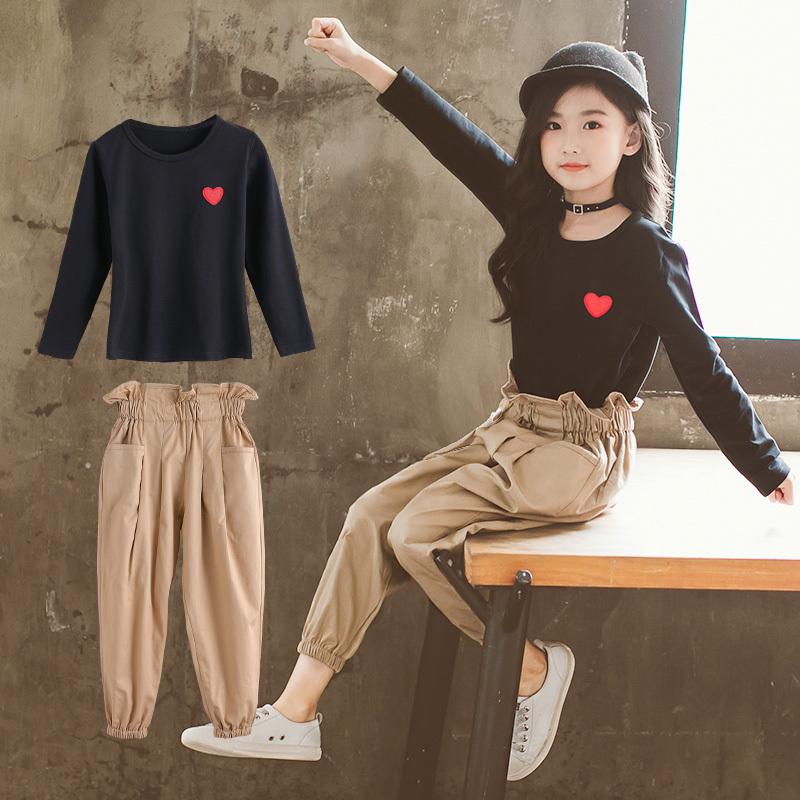 女童春秋装时尚套装2018新款韩版儿童洋气小女孩时髦网红两件套潮