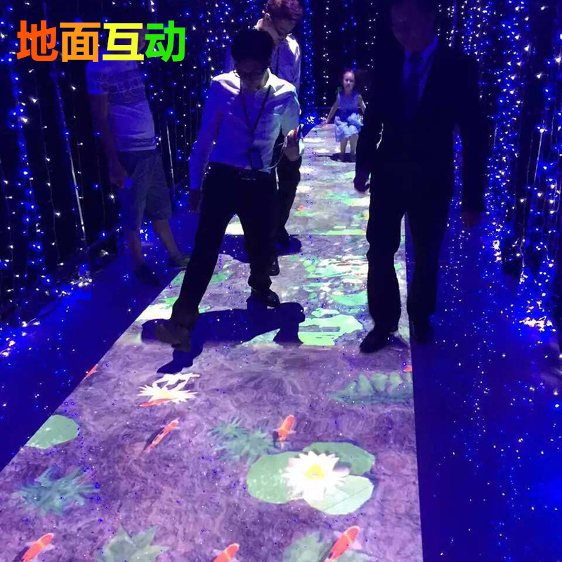 互动投影多通道地面互动墙面投影游戏滑梯儿童游乐投影融合投影仪