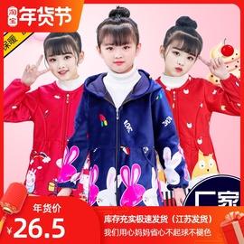 儿童罩衣秋冬款加绒加厚可外穿护衣吃饭画画女童洋气可爱公主围裙