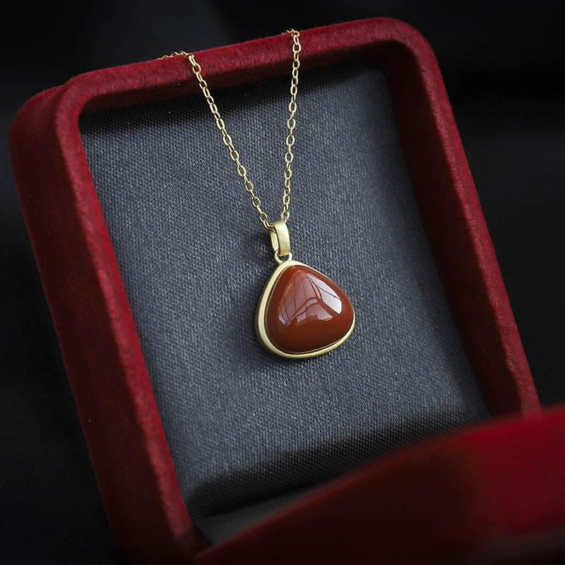 开颜丨天然南红玛瑙水滴形吊坠玉石项链时尚简约礼品女锁骨链