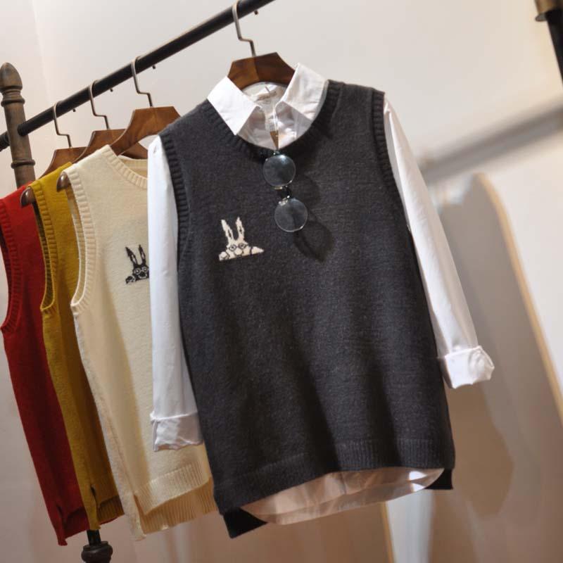 Spring 2017 new knitted vest womens casual little rabbit pattern Vest Jacket knitwear women