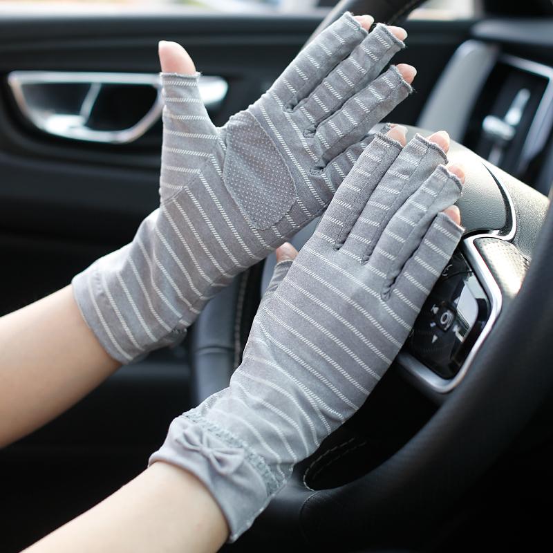 夏季开车防紫外线防滑女条纹半指防晒手套春秋薄款露一指关节设计