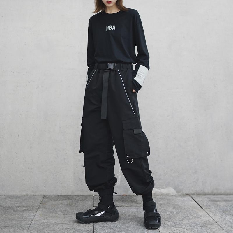 暗黑系技能风多口袋工装裤机能风女装宽松bf裤子街头帅气酷潮个性