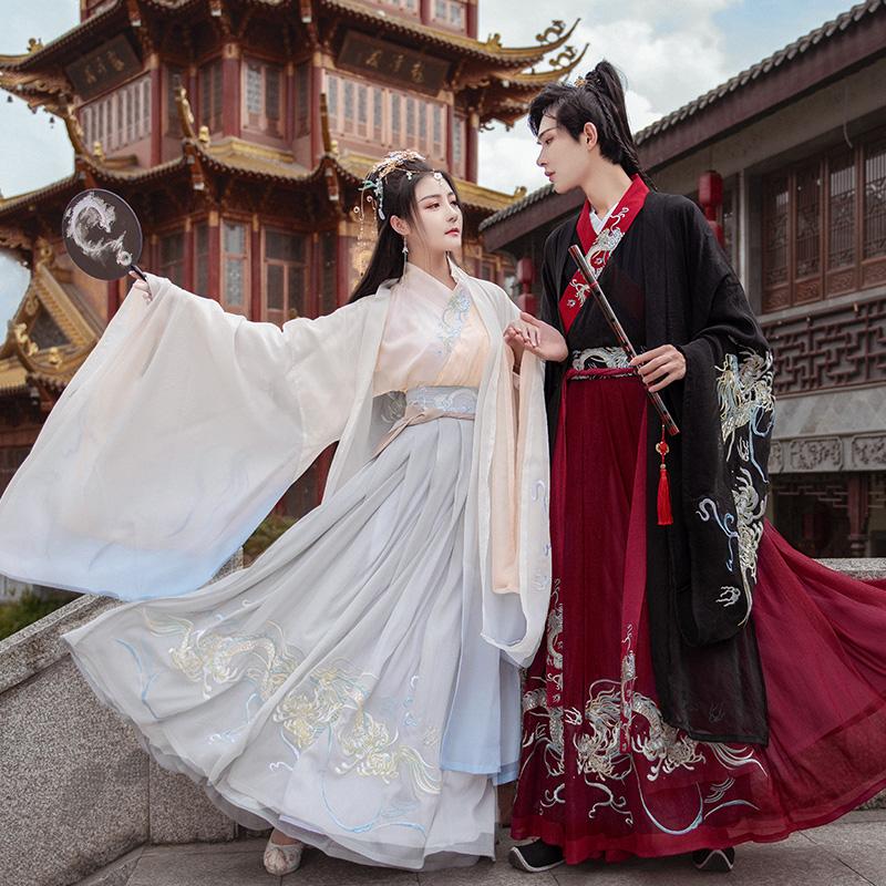 如梦霓裳汉服女装情侣装大袖衫辰龙生肖重工刺绣原创设计周年庆