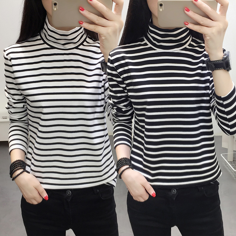 Early autumn 2018 new large womens long sleeve T-shirt womens early autumn fat mm striped chic bottomed shirt