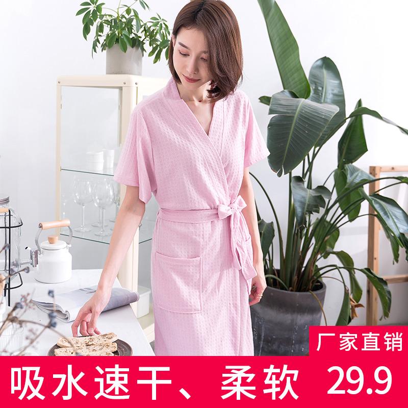 夏季短袖长款男士吸水速干情侣睡袍价格多少好不好用