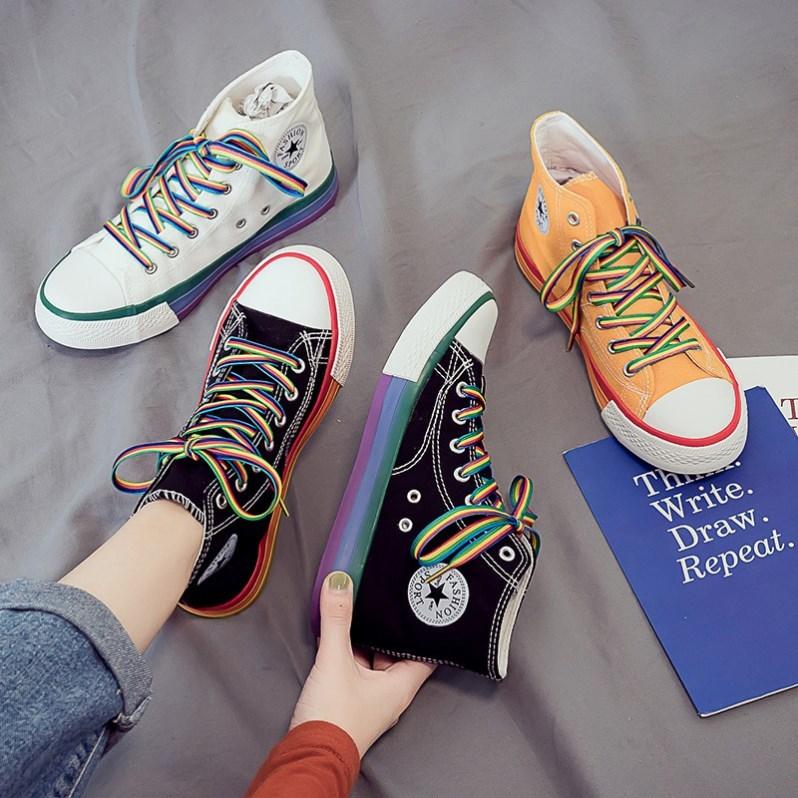 低帮帆布鞋个性女式平跟女鞋初中夏季校园简单球鞋板鞋简约舒适透