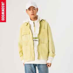 【商场同款】Jasonwood20春口袋可拆卸连帽牛仔夹克外套