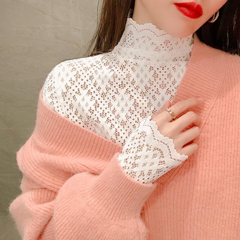 欧货蕾丝打底衫女法式高领网纱小衫2021春季毛衣内搭长袖洋气上衣