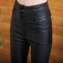 Matte leather pants women's new high waist outer show thin leggings, small feet, plush and thickened tight pants in autumn and winter 2019