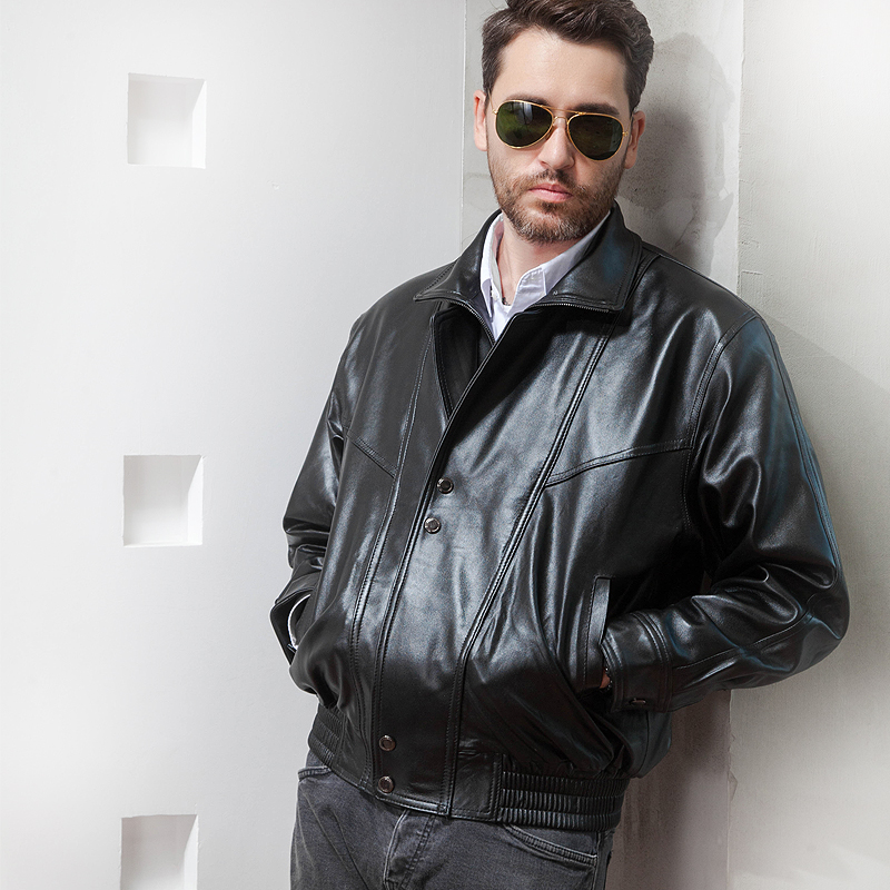Leather top leather motorcycle leather jacket male pilot leather jacket short stand collar Harley leather