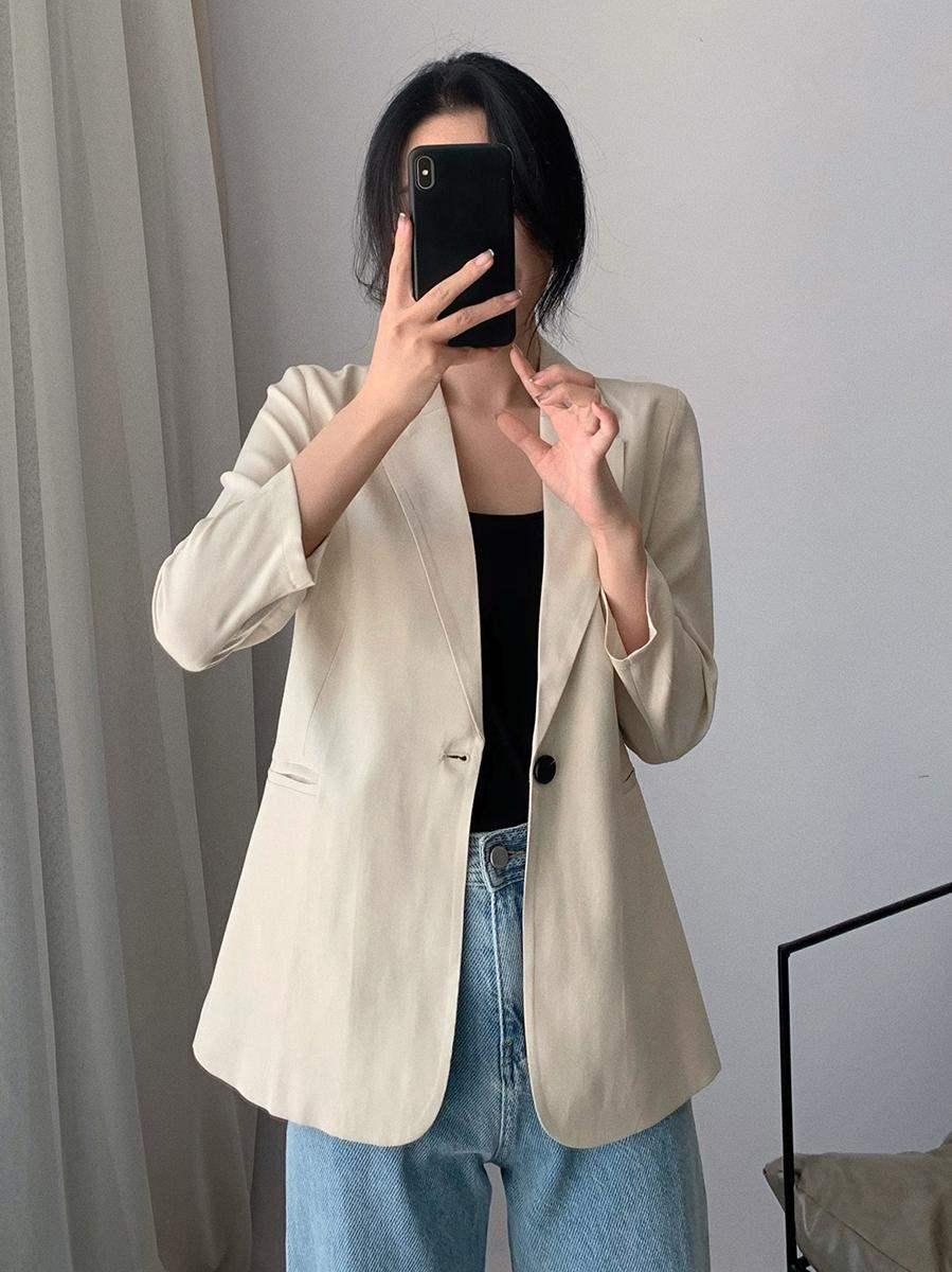 日本西装外套女夏秋季薄款休闲醋酸缎面垂感网红七分袖小西服