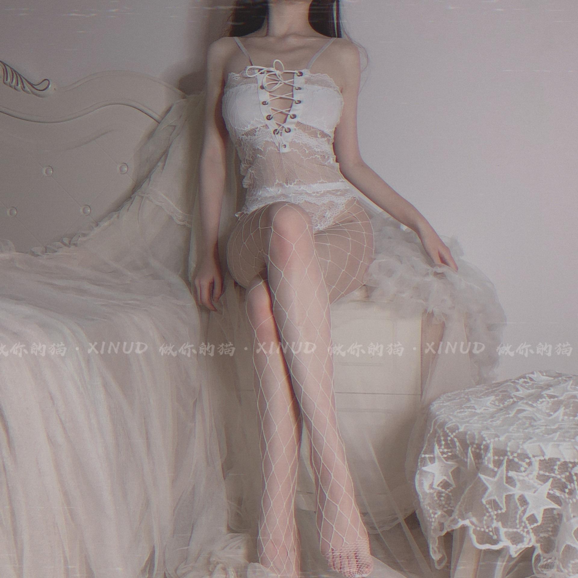 做你的猫:含网袜)欧美性感蕾丝绑带连体网袜情趣透视激情内衣女