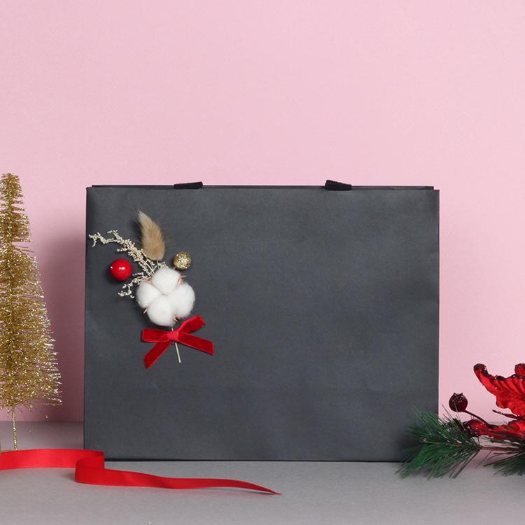 北欧风纸袋定制棉花原创手作纯黑色礼品手提纸袋超大号包装袋现货