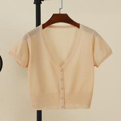 夏季冰丝短款针织衫开衫超薄款外搭上衣短袖女披肩配裙子的小外套