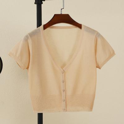 夏季冰丝短款超薄款外搭短袖针织衫