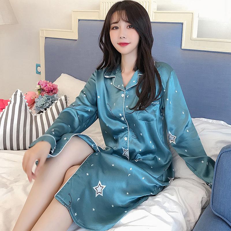 冰丝睡裙女春秋仙女风长款可外穿过膝新款潮流仿真丝大码公主睡衣