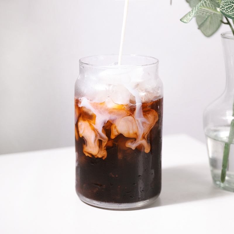 Ins net red fruit tea cup transparent glass ice coffee cup glass large capacity cold drink cup drink cup