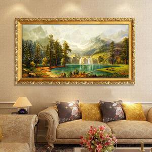 纯手工绘欧式山水风景<span class=H>油画</span>聚宝盆客厅沙发过道横版定制装饰挂壁画