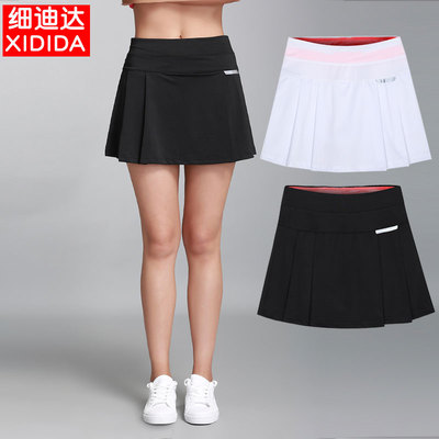 Black sports skirt female badminton casual comfortable quick-drying breathable summer fake two-piece running fitness short skirt