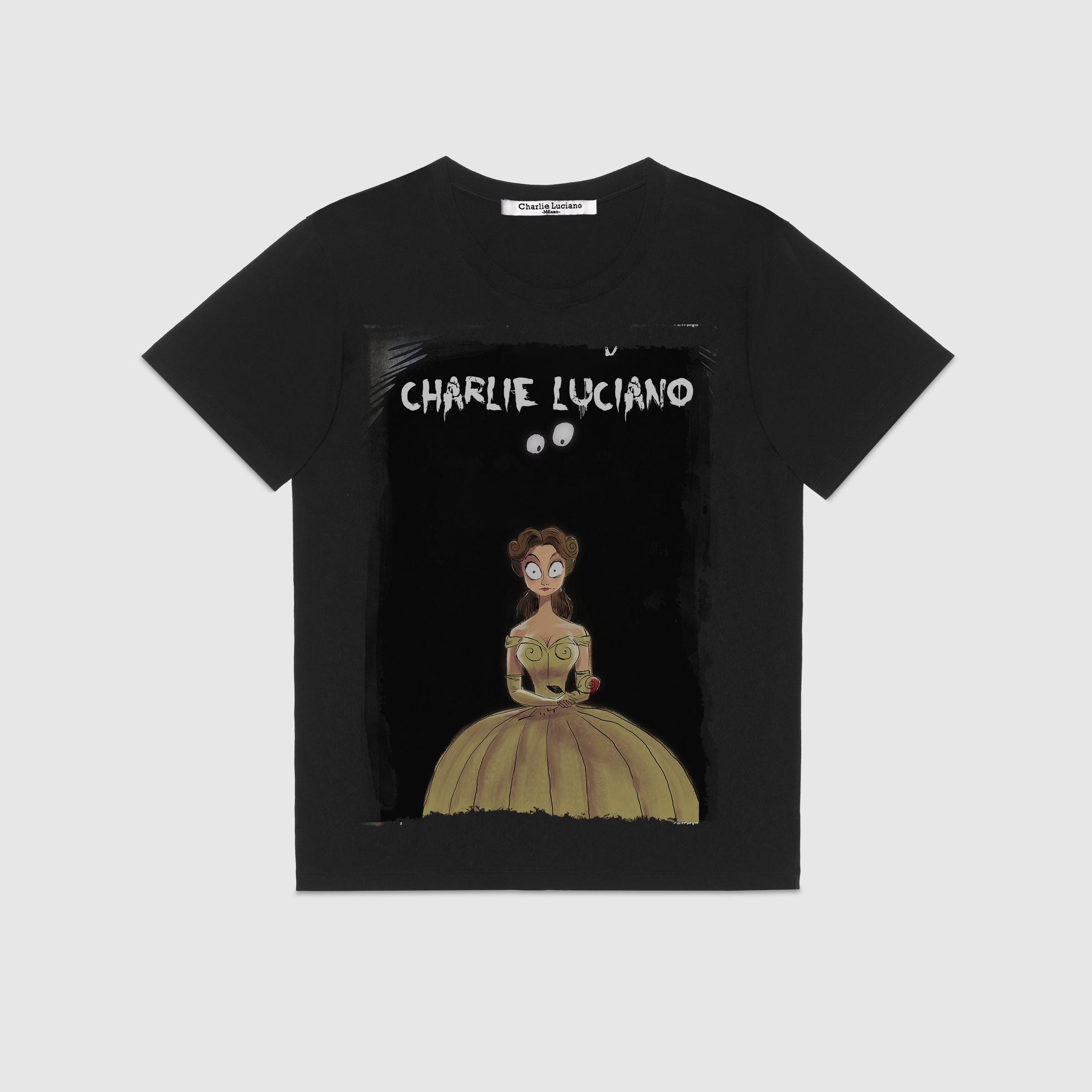 【海龟】潮品Charlie Luciano夏季新款美女与野兽插画圆领短袖t恤