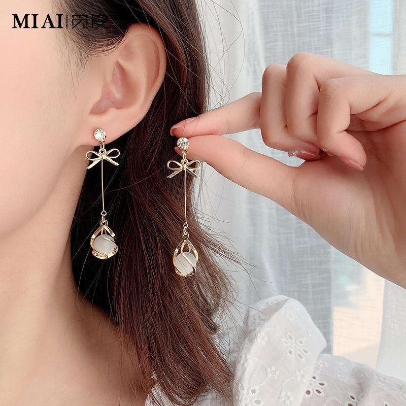 气质纯银猫眼石耳环2020年新款潮韩国耳饰长款无耳洞耳坠耳钉耳夹图片