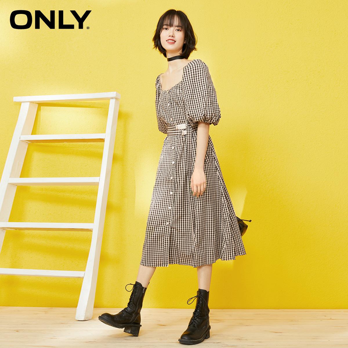 ONLY春季新款条纹法式灯笼袖绑带中长款连衣裙女|120307022