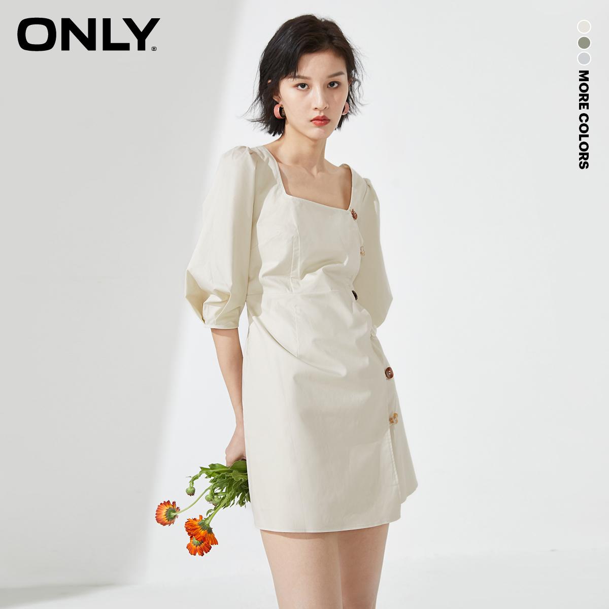 ONLY春季新款法式复古泡泡袖设计感方领短款连衣裙女|120207570