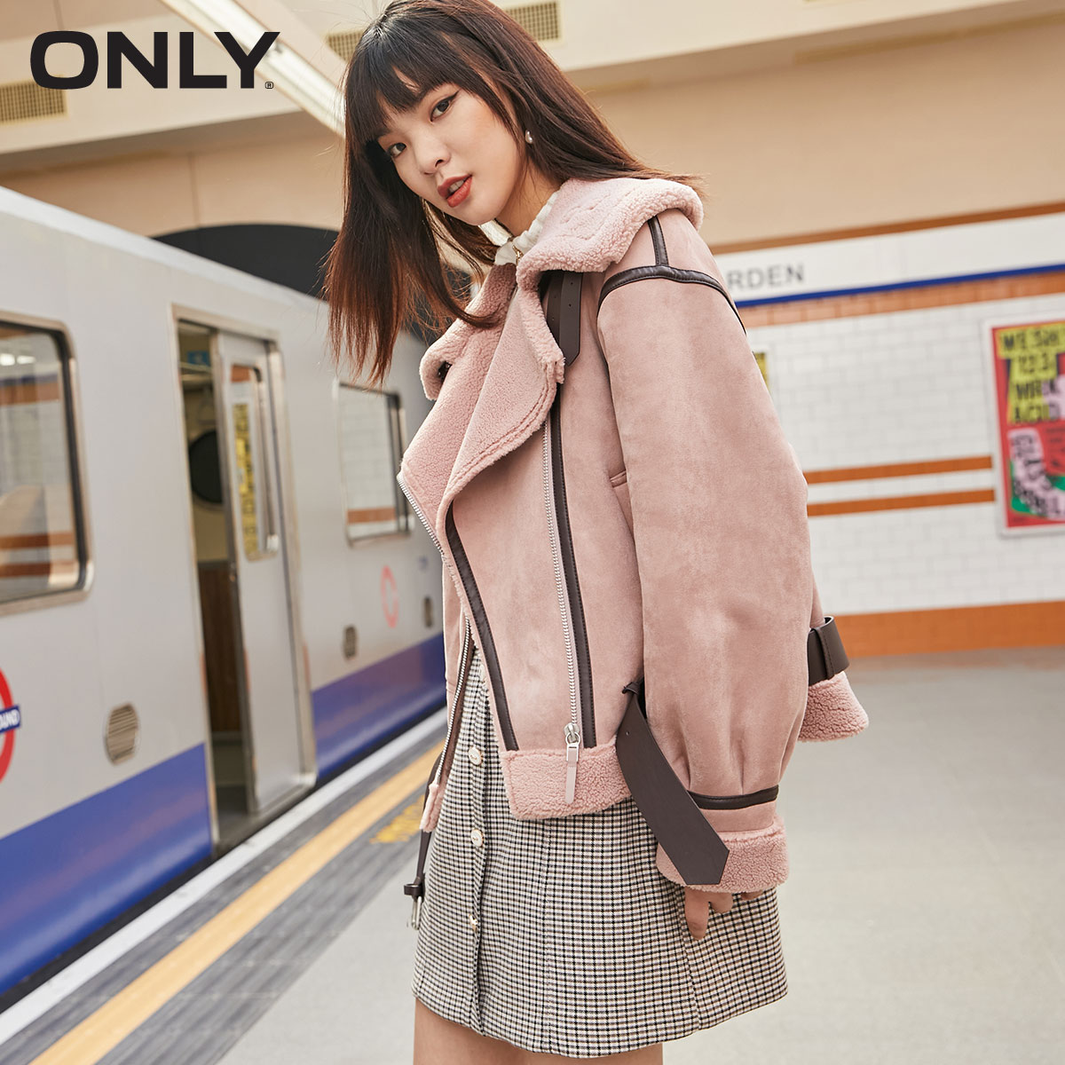 ONLY2020 winter new short suede lapel fried street motorcycle jacket jacket female 1204PU009