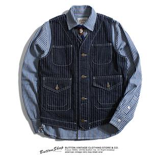 美式复古咔叽R*L猎装机车西装背心重磅条纹牛仔多口袋工装马甲男