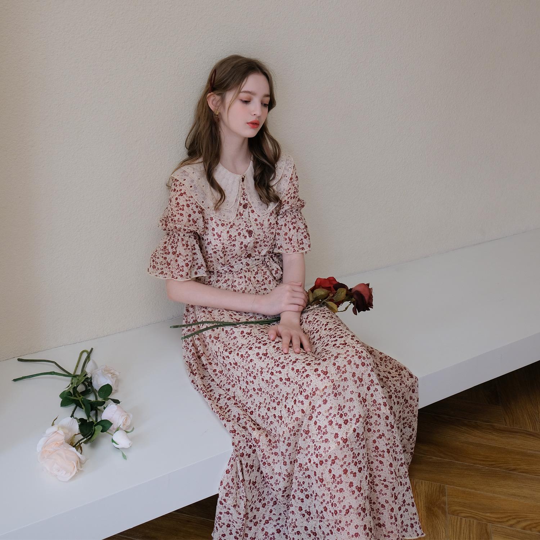 M Queen很仙的蕾丝双层领浪漫荷叶袖碎花连衣裙女高腰a字长裙5910图片