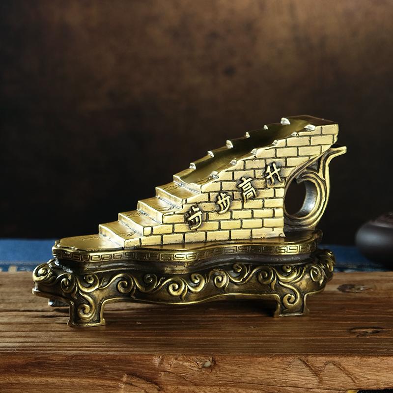 步步高升铜楼梯摆件一步登天催官助学业家居办公室助事业摆件礼品