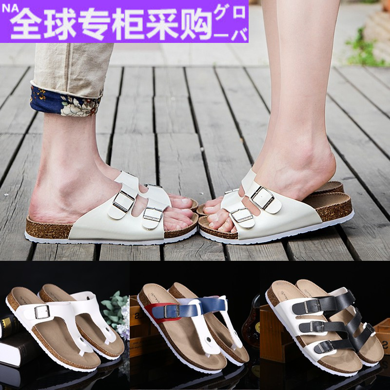 Global purchase of lovers cork slippers mens summer Korean fashion antiskid beach shoes fashion pinch sandals casual