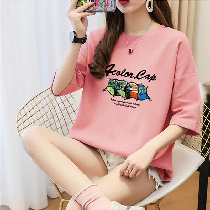 T-shirt womens short sleeve pure cotton students all-around use of Korean version of INS fashion westernized half sleeve summer loose round neck super fire CEC top