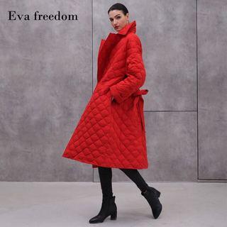 2019冬季新款女式西服领羽绒服中长款优雅气质妈妈装系带外套潮款
