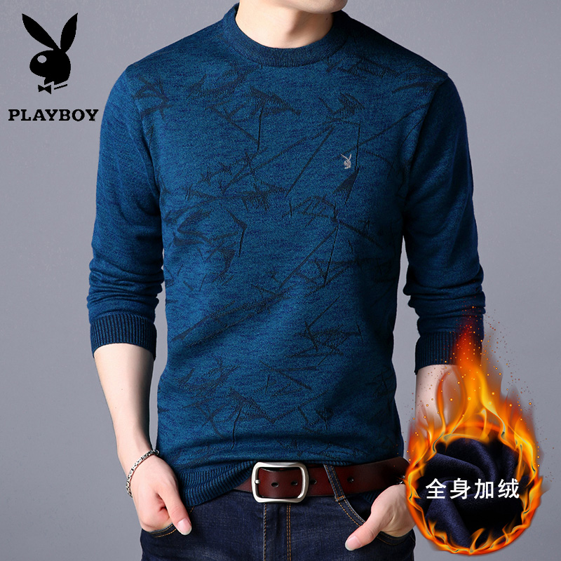 Playboy mens sweater Plush thickened autumn winter Korean Crew Neck Sweater warm youth t-shirt