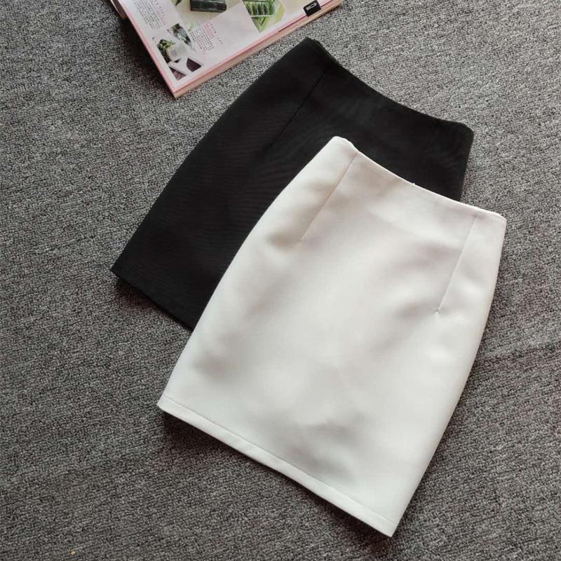 2021春夏新款半身裙女白色包臀短裙一步裙中高腰裙子修身大码显瘦