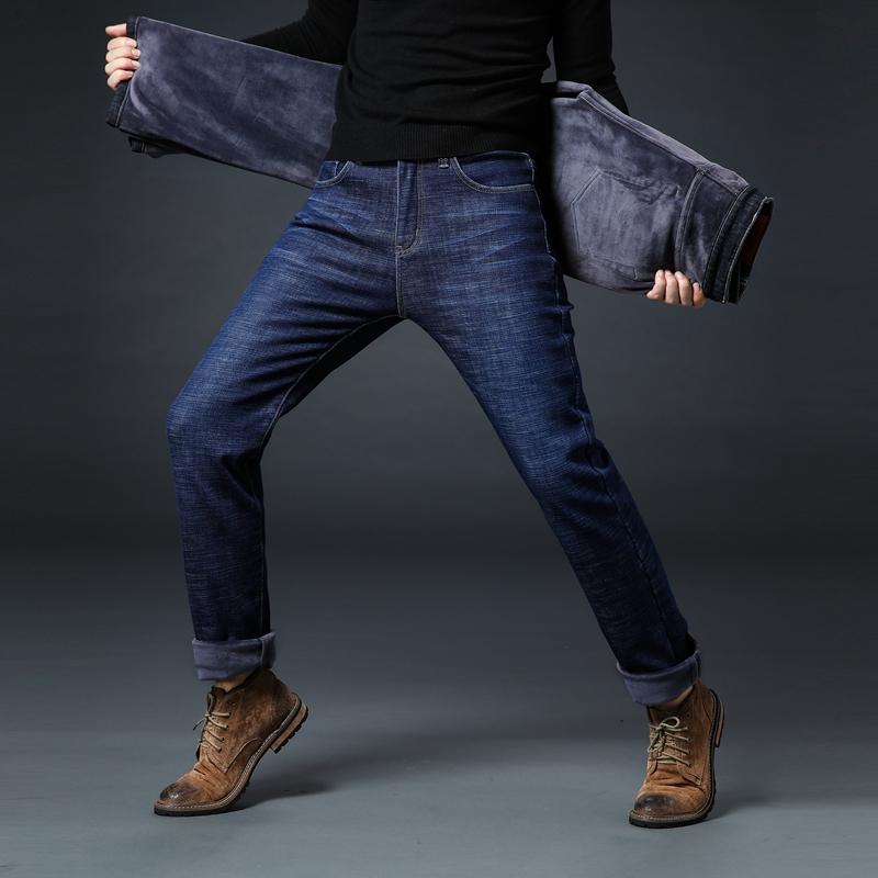 冬款弹力加厚加绒牛仔裤男士直筒保暖高腰宽松带绒中老年