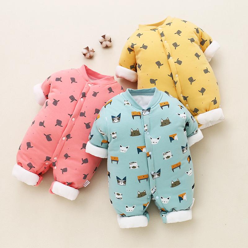 新生嬰兒連體衣秋冬季保暖加厚純棉衣服嬰兒夾棉套裝初生寶寶冬裝