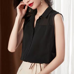 黑色衬衫女设计感小众夏季薄款无袖雪纺衬衣洋气气质小衫网纱上衣
