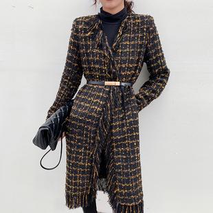 2020冬装新设计感粗花呢格纹毛呢外套复古港味中长款修身毛呢大衣