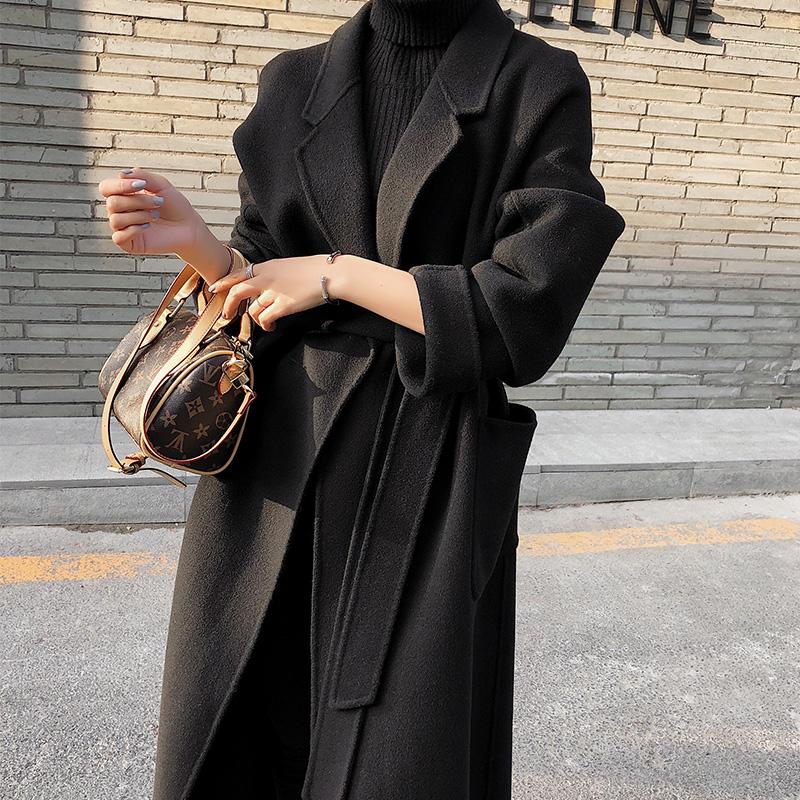 赫本风黑色双面羊绒大衣女中长款2019秋冬高端显瘦过膝羊毛呢外套