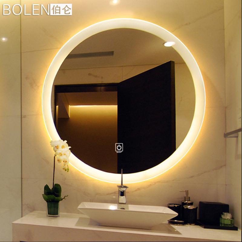 BOLEN智能LED浴室镜卫生间镜子卫浴镜壁挂墙洗漱台厕所镜圆形灯镜图片