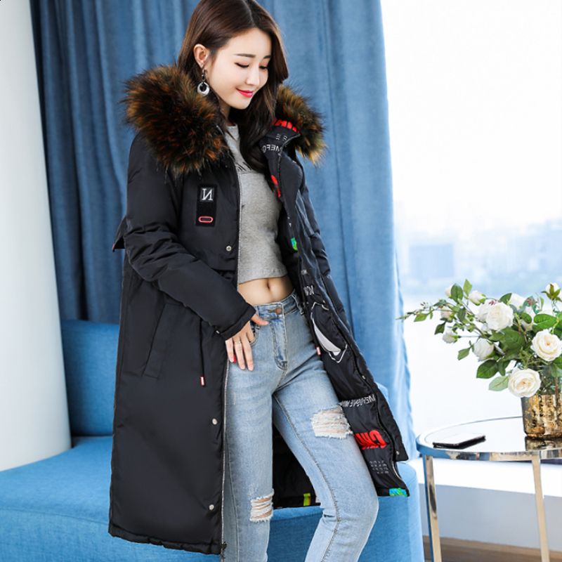 Korean version big hair collar with cotton padded jacket on both sides womens middle and long style plus fat plus size down cotton padded jacket thickened coat cotton padded jacket