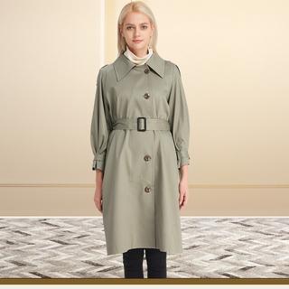 妈妈春装2020新款今年流行女装外套秋大码宽松休闲中长款纯棉风衣
