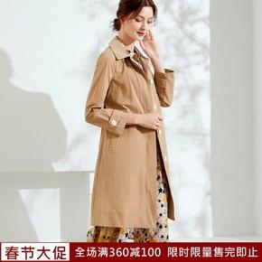 乔妮塔品牌女装2021春秋新款腰带中长款翻领修身单层风衣气质外套