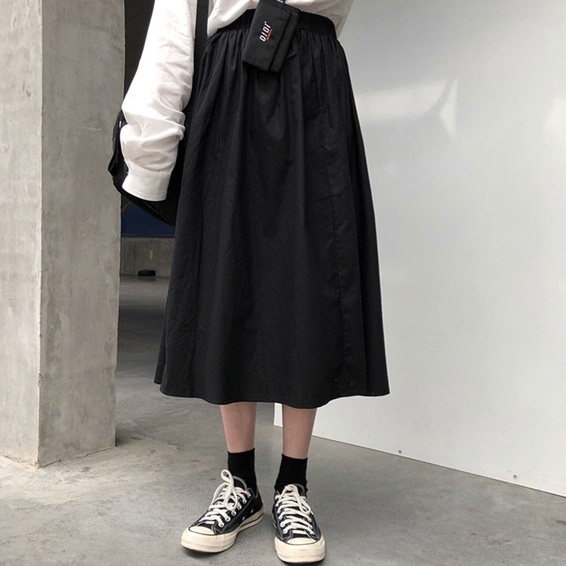 百思朵暗黑系黑色半身裙中长款高腰坠感复古大摆伞裙赫本小黑裙子(非品牌)